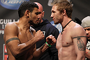 NASHVILLE, TN - JANUARY 19:  (L-R) Fabricio Camoes and Tommy Hayden face off after weighing in during the UFC on FX official weigh in at Bridgestone Arena on January 19, 2012 in Nashville, Tennessee.  (Photo by Josh Hedges/Zuffa LLC/Zuffa LLC via Getty Images)