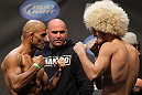 NASHVILLE, TN - JANUARY 19:  (L-R) Opponents Kamal Shalorus and Khabib Nurmagomedov face off after weighing in during the UFC on FX official weigh in at Bridgestone Arena on January 19, 2012 in Nashville, Tennessee.  (Photo by Josh Hedges/Zuffa LLC/Zuffa LLC via Getty Images)