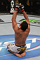 NASHVILLE, TN - JANUARY 20:  Fabricio Camoes reacts after defeating Tommy Hayden during the UFC on FX event at Bridgestone Arena on January 20, 2012 in Nashville, Tennessee.  (Photo by Josh Hedges/Zuffa LLC/Zuffa LLC via Getty Images)