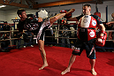 CHICAGO, IL - JANUARY 25:  Michael Bisping works out for the media during the UFC on FOX open workouts at the Chicago Boxing Club on January 25, 2012 in Chicago, Illinois.  (Photo by Josh Hedges/Zuffa LLC/Zuffa LLC via Getty Images)