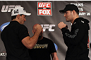 CHICAGO, IL - JANUARY 26:  (L-R) Middleweight opponents Demian Maia and Chris Weidman face off during the UFC on FOX press conference at the W Hotel on January 26, 2012 in Chicago, Illinois.  (Photo by Josh Hedges/Zuffa LLC/Zuffa LLC via Getty Images) *** Local Caption *** Demian Maia; Chris Weidman