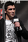 CHICAGO, IL - JANUARY 27:  UFC Bantamweight Champion Dominick Cruz interacts with fans during a Q&amp;A session before the UFC on FOX official weigh in at the Chicago Theatre on January 27, 2012 in Chicago, Illinois.  (Photo by Josh Hedges/Zuffa LLC/Zuffa LLC via Getty Images) *** Local Caption *** Dominick Cruz