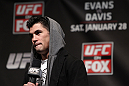 CHICAGO, IL - JANUARY 27:  UFC Bantamweight Champion Dominick Cruz interacts with fans during a Q&A session before the UFC on FOX official weigh in at the Chicago Theatre on January 27, 2012 in Chicago, Illinois.  (Photo by Josh Hedges/Zuffa LLC/Zuffa LLC via Getty Images) *** Local Caption *** Dominick Cruz