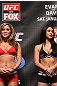 CHICAGO, IL - JANUARY 27:  (L-R) UFC Octagon Girls Brittney Palmer and Arianny Celeste attend the UFC on FOX official weigh in at the Chicago Theatre on January 27, 2012 in Chicago, Illinois.  (Photo by Josh Hedges/Zuffa LLC/Zuffa LLC via Getty Images) *** Local Caption *** Brittney Palmer; Arianny Celeste
