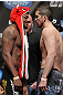 CHICAGO, IL - JANUARY 27:  (L-R) Lightweight opponents Michael Johnson and Shane Roller face off after weighing in during the UFC on FOX official weigh in at the Chicago Theatre on January 27, 2012 in Chicago, Illinois.  (Photo by Josh Hedges/Zuffa LLC/Zuffa LLC via Getty Images) *** Local Caption *** Michael Johnson; Shane Roller