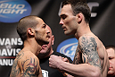 CHICAGO, IL - JANUARY 27:  (L-R) Featherweight opponents Cub Swanson and George Roop face off after weighing in during the UFC on FOX official weigh in at the Chicago Theatre on January 27, 2012 in Chicago, Illinois.  (Photo by Josh Hedges/Zuffa LLC/Zuffa LLC via Getty Images) *** Local Caption *** George Roop; Cub Swanson