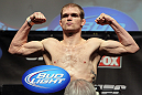 CHICAGO, IL - JANUARY 27:  Evan Dunham weighs in during the UFC on FOX official weigh in at the Chicago Theatre on January 27, 2012 in Chicago, Illinois.  (Photo by Josh Hedges/Zuffa LLC/Zuffa LLC via Getty Images) *** Local Caption *** Evan Dunham