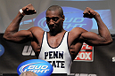 CHICAGO, IL - JANUARY 27:  Phil Davis weighs in wearing a Penn State wrestling singlet during the UFC on FOX official weigh in at the Chicago Theatre on January 27, 2012 in Chicago, Illinois.  (Photo by Josh Hedges/Zuffa LLC/Zuffa LLC via Getty Images) *** Local Caption *** Phil Davis