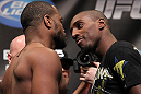 CHICAGO, IL - JANUARY 27:  (L-R) Light Heavyweight opponents Rashad Evans and Phil Davis face off after weighing in during the UFC on FOX official weigh in at the Chicago Theatre on January 27, 2012 in Chicago, Illinois.  (Photo by Josh Hedges/Zuffa LLC/Zuffa LLC via Getty Images) *** Local Caption *** Rashad Evans; Phil Davis