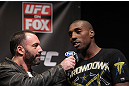 CHICAGO, IL - JANUARY 27:  Phil Davis (R) is interviewed by Joe Rogan during the UFC on FOX official weigh in at the Chicago Theatre on January 27, 2012 in Chicago, Illinois.  (Photo by Josh Hedges/Zuffa LLC/Zuffa LLC via Getty Images) *** Local Caption *** Phil Davis; Joe Rogan