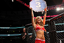 CHICAGO, IL - JANUARY 28:  UFC Octagon Girl Brittney Palmer introduces round 1 before the Camozzi vs Jacoby bout during the UFC on FOX event at United Center on January 28, 2012 in Chicago, Illinois.  (Photo by Josh Hedges/Zuffa LLC/Zuffa LLC via Getty Images) *** Local Caption *** Brittney Palmer