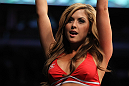 CHICAGO, IL - JANUARY 28:  UFC Octagon Girl Brittney Palmer introduces round two before the Johnson vs Roller bout during the UFC on FOX event at United Center on January 28, 2012 in Chicago, Illinois.  (Photo by Josh Hedges/Zuffa LLC/Zuffa LLC via Getty Images) *** Local Caption *** Brittney Palmer