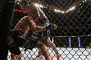 CHICAGO, IL - JANUARY 28:  (R-L) Chris Camozzi defeats Dustin Jacoby with a guillotine choke submission during the UFC on FOX event at United Center on January 28, 2012 in Chicago, Illinois.  (Photo by Josh Hedges/Zuffa LLC/Zuffa LLC via Getty Images) *** Local Caption *** Chris Camozzi; Dustin Jacoby