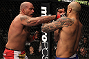 CHICAGO, IL - JANUARY 28:  (L-R) Joey Beltran punches Lavar Johnson during the UFC on FOX event at United Center on January 28, 2012 in Chicago, Illinois.  (Photo by Nick Laham/Zuffa LLC/Zuffa LLC via Getty Images) *** Local Caption *** Lavar Johnson; Joey Beltran