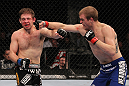 CHICAGO, IL - JANUARY 28:  (R-L) Evan Dunham punches Nik Lentz during the UFC on FOX event at United Center on January 28, 2012 in Chicago, Illinois.  (Photo by Nick Laham/Zuffa LLC/Zuffa LLC via Getty Images) *** Local Caption *** Nik Lentz; Evan Dunham