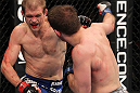 CHICAGO, IL - JANUARY 28:  (L-R) Evan Dunham punches Nik Lentz during the UFC on FOX event at United Center on January 28, 2012 in Chicago, Illinois.  (Photo by Nick Laham/Zuffa LLC/Zuffa LLC via Getty Images) *** Local Caption *** Nik Lentz; Evan Dunham