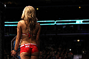 CHICAGO, IL - JANUARY 28:  UFC Octagon Girl Brittney Palmer introduces round three during the Russow vs Einemo bout during the UFC on FOX event at United Center on January 28, 2012 in Chicago, Illinois.  (Photo by Josh Hedges/Zuffa LLC/Zuffa LLC via Getty Images) *** Local Caption *** Brittney Palmer