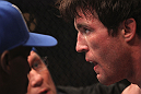 CHICAGO, IL - JANUARY 28:  Chael Sonnen sits in his corner between rounds during his bout against Michael Bisping during the UFC on FOX event at United Center on January 28, 2012 in Chicago, Illinois.  (Photo by Nick Laham/Zuffa LLC/Zuffa LLC via Getty Images) *** Local Caption *** Chael Sonnen