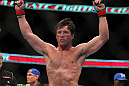 CHICAGO, IL - JANUARY 28:  Chael Sonnen reacts after defeating Michael Bisping during the UFC on FOX event at United Center on January 28, 2012 in Chicago, Illinois.  (Photo by Josh Hedges/Zuffa LLC/Zuffa LLC via Getty Images) *** Local Caption *** Chael Sonnen