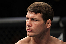 CHICAGO, IL - JANUARY 28:  Michael Bisping stands in the Octagon before his bout against Chael Sonnen during the UFC on FOX event at United Center on January 28, 2012 in Chicago, Illinois.  (Photo by Josh Hedges/Zuffa LLC/Zuffa LLC via Getty Images) *** Local Caption *** Michael Bisping