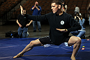 LAS VEGAS, NV - FEBRUARY 01:  Nick Diaz works out for the media and fans during the UFC 143 open workouts at Mandalay Bay Events Center on February 1, 2012 in Las Vegas, United States.  (Photo by Josh Hedges/Zuffa LLC/Zuffa LLC via Getty Images) *** Local Caption *** Nick Diaz