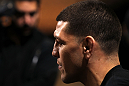 LAS VEGAS, NV - FEBRUARY 01:  Nick Diaz answers questions from the media during the UFC 143 open workouts at Mandalay Bay Events Center on February 1, 2012 in Las Vegas, United States.  (Photo by Josh Hedges/Zuffa LLC/Zuffa LLC via Getty Images) *** Local Caption *** Nick Diaz