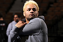 LAS VEGAS, NV - FEBRUARY 01:  Josh Koscheck works out for the media and fans during the UFC 143 open workouts at Mandalay Bay Events Center on February 1, 2012 in Las Vegas, United States.  (Photo by Josh Hedges/Zuffa LLC/Zuffa LLC via Getty Images) *** Local Caption *** Josh Koscheck