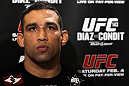LAS VEGAS, NV - FEBRUARY 01:  Fabricio Werdum answers questions from the media during the UFC 143 open workouts at Mandalay Bay Events Center on February 1, 2012 in Las Vegas, United States.  (Photo by Josh Hedges/Zuffa LLC/Zuffa LLC via Getty Images) *** Local Caption *** Fabricio Werdum