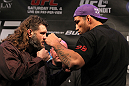 LAS VEGAS, NV - FEBRUARY 02:  (L-R) Opponents Roy Nelson and Fabricio Werdum face off during the UFC 143 final pre-fight press conference at the Mandalay Bay Hotel &amp; Casino on February 2, 2012 in Las Vegas, United States.  (Photo by Josh Hedges/Zuffa LLC/Zuffa LLC via Getty Images) *** Local Caption *** Roy Nelson; Fabricio Werdum