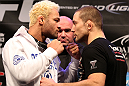 LAS VEGAS, NV - FEBRUARY 02:  (L-R) Opponents Josh Koscheck and Mike Pierce face off during the UFC 143 final pre-fight press conference at the Mandalay Bay Hotel & Casino on February 2, 2012 in Las Vegas, United States.  (Photo by Josh Hedges/Zuffa LLC/Zuffa LLC via Getty Images) *** Local Caption *** Josh Koscheck; Mike Pierce