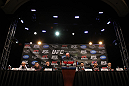 LAS VEGAS, NV - FEBRUARY 02:  A general view of the fighters on the dais during the UFC 143 final pre-fight press conference at the Mandalay Bay Hotel &amp; Casino on February 2, 2012 in Las Vegas, United States.  (Photo by Josh Hedges/Zuffa LLC/Zuffa LLC via Getty Images)