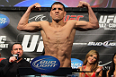 LAS VEGAS, NV - FEBRUARY 03:  Nick Diaz weighs in during the UFC 143 official weigh in at Mandalay Bay Events Center on February 3, 2012 in Las Vegas, Nevada.|2:55:8  (Photo by Josh Hedges/Zuffa LLC/Zuffa LLC via Getty Images) *** Local Caption *** Nick Diaz
