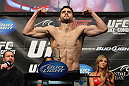 LAS VEGAS, NV - FEBRUARY 03:  Carlos Condit weighs in during the UFC 143 official weigh in at Mandalay Bay Events Center on February 3, 2012 in Las Vegas, Nevada.|2:55:8  (Photo by Josh Hedges/Zuffa LLC/Zuffa LLC via Getty Images) *** Local Caption *** Carlos Condit