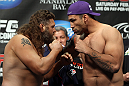 LAS VEGAS, NV - FEBRUARY 03:  (L-R) Heavyweight opponents Roy Nelson and Fabricio Werdum face off after weighing in during the UFC 143 official weigh in at Mandalay Bay Events Center on February 3, 2012 in Las Vegas, Nevada.|2:55:8  (Photo by Josh Hedges/Zuffa LLC/Zuffa LLC via Getty Images) *** Local Caption *** Fabricio Werdum; Roy Nelson