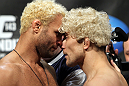 LAS VEGAS, NV - FEBRUARY 03:  (L-R) Welterweight opponents Josh Koscheck and Mike Pierce face off after weighing in during the UFC 143 official weigh in at Mandalay Bay Events Center on February 3, 2012 in Las Vegas, Nevada.|2:55:8  (Photo by Josh Hedges/Zuffa LLC/Zuffa LLC via Getty Images) *** Local Caption *** Josh Koscheck; Mike Pierce