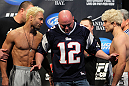 LAS VEGAS, NV - FEBRUARY 03:   Welterweight opponents Josh Koscheck (L) and Mike Pierce (R) are separated by UFC President Dana White after weighing in during the UFC 143 official weigh in at Mandalay Bay Events Center on February 3, 2012 in Las Vegas, Nevada.|2:55:8  (Photo by Josh Hedges/Zuffa LLC/Zuffa LLC via Getty Images) *** Local Caption *** Josh Koscheck; Mike Pierce; Dana White