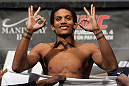 LAS VEGAS, NV - FEBRUARY 03:  Alex Caceres weighs in during the UFC 143 official weigh in at Mandalay Bay Events Center on February 3, 2012 in Las Vegas, Nevada.  (Photo by Josh Hedges/Zuffa LLC/Zuffa LLC via Getty Images) *** Local Caption *** Alex Caceres