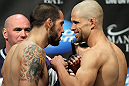 LAS VEGAS, NV - FEBRUARY 03:  (L-R) Opponents Matt Brown and Chris Cope face off after weighing in during the UFC 143 official weigh in at Mandalay Bay Events Center on February 3, 2012 in Las Vegas, Nevada.  (Photo by Josh Hedges/Zuffa LLC/Zuffa LLC via Getty Images) *** Local Caption *** Matt Brown; Chris Cope