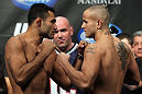 LAS VEGAS, NV - FEBRUARY 03:  (L-R) Opponents Rafael Natal and Michael Kuiper face off after weighing in during the UFC 143 official weigh in at Mandalay Bay Events Center on February 3, 2012 in Las Vegas, Nevada.|2:55:8  (Photo by Josh Hedges/Zuffa LLC/Zuffa LLC via Getty Images) *** Local Caption *** Rafael Natal; Michael Kuiper