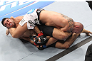 LAS VEGAS, NV - FEBRUARY 04:  Rafael Natal (left) attempts to submit Michael Kuiper during the UFC 143 event at Mandalay Bay Events Center on February 4, 2012 in Las Vegas, Nevada.  (Photo by Nick Laham/Zuffa LLC/Zuffa LLC via Getty Images) *** Local Caption *** Rafael Natal; Michael Kuiper