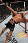 LAS VEGAS, NV - FEBRUARY 04:  Rafael Natal (black shorts) slams Michael Kuiper down to the canvas during the UFC 143 event at Mandalay Bay Events Center on February 4, 2012 in Las Vegas, Nevada.  (Photo by Nick Laham/Zuffa LLC/Zuffa LLC via Getty Images) *** Local Caption *** Rafael Natal; Michael Kuiper