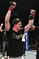 LAS VEGAS, NV - FEBRUARY 04:  Matt Riddle is declared the winner in his fight against Henry Martinez during the UFC 143 event at Mandalay Bay Events Center on February 4, 2012 in Las Vegas, Nevada.  (Photo by Nick Laham/Zuffa LLC/Zuffa LLC via Getty Images) *** Local Caption *** Matt Riddle