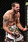 LAS VEGAS, NV - FEBRUARY 04:  Matt Brown reacts to his knockout of Chris Cope during the UFC 143 event at Mandalay Bay Events Center on February 4, 2012 in Las Vegas, Nevada.  (Photo by Nick Laham/Zuffa LLC/Zuffa LLC via Getty Images) *** Local Caption *** Matt Brown; Chris Cope