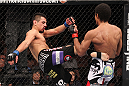 LAS VEGAS, NV - FEBRUARY 04:  Edwin Figueroa (left) kicks Alex Caceres during the UFC 143 event at Mandalay Bay Events Center on February 4, 2012 in Las Vegas, Nevada.  (Photo by Nick Laham/Zuffa LLC/Zuffa LLC via Getty Images) *** Local Caption *** Edwin Figueroa; Alex Caceres