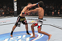LAS VEGAS, NV - FEBRUARY 04:  Edwin Figueroa (left) punches Alex Caceres during the UFC 143 event at Mandalay Bay Events Center on February 4, 2012 in Las Vegas, Nevada.  (Photo by Nick Laham/Zuffa LLC/Zuffa LLC via Getty Images) *** Local Caption *** Edwin Figueroa; Alex Caceres