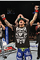 LAS VEGAS, NV - FEBRUARY 04:  Dustin Poirier reacts to being declared the winner in his fight against Max Holloway during the UFC 143 event at Mandalay Bay Events Center on February 4, 2012 in Las Vegas, Nevada.  (Photo by Nick Laham/Zuffa LLC/Zuffa LLC via Getty Images) *** Local Caption *** Dustin Poirier
