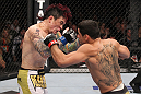 LAS VEGAS, NV - FEBRUARY 04:  Renan Barao (right) punches Scott Jorgensen during the UFC 143 event at Mandalay Bay Events Center on February 4, 2012 in Las Vegas, Nevada.  (Photo by Nick Laham/Zuffa LLC/Zuffa LLC via Getty Images) *** Local Caption *** Renan Barao; Scott Jorgensen