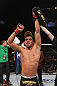 LAS VEGAS, NV - FEBRUARY 04:  Renan Barao is declared the winner in his fight against Scott Jorgensen during the UFC 143 event at Mandalay Bay Events Center on February 4, 2012 in Las Vegas, Nevada.  (Photo by Nick Laham/Zuffa LLC/Zuffa LLC via Getty Images) *** Local Caption *** Renan Barao; Scott Jorgensen