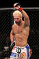 LAS VEGAS, NV - FEBRUARY 04:  Josh Koscheck reacts to his victory over Mike Pierce during the UFC 143 event at Mandalay Bay Events Center on February 4, 2012 in Las Vegas, Nevada.  (Photo by Nick Laham/Zuffa LLC/Zuffa LLC via Getty Images) *** Local Caption *** Josh Koscheck