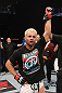 LAS VEGAS, NV - FEBRUARY 04:  Josh Koscheck is declared the winner in his fight against Mike Pierce during the UFC 143 event at Mandalay Bay Events Center on February 4, 2012 in Las Vegas, Nevada.  (Photo by Nick Laham/Zuffa LLC/Zuffa LLC via Getty Images) *** Local Caption *** Josh Koscheck